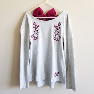 Girls Long Sleeve Floral Embroidered Bow Back Top